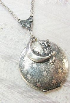 Silver Moon & Owl Locket Necklace