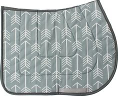 Grey and White Arrows Saddle Pad - USA MADE (Saddle Pads). This soft, cushioned pad is just right for most horses and is a fun fashion statement! Cotton top and cotton flannel bottom with foam inner cushioning.