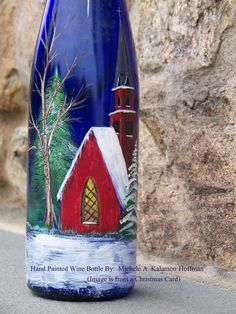 Hand Painted Wine Bottle - Steeple Church