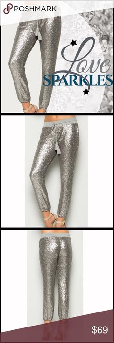 "ARRIVED! Sequin Pants high quality sequin pants; Comfortable waistline with tassel drawstring;  Lined & great for all year; fully lined with soft jersey inside;  Material content: 60% Polyester 40% Pet, Contrast 95% Rayon 5% Spandex; very limited supply-NO OFFERS PLEASE. Measurements (they have 5% stretch-  a high amount of stretch) sz.L:  waist 16"", 21"" hips,  inseam 25"" (Also available in black and rose gold- see listings in my closet) Boutique Pants"