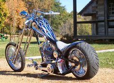 Built and owned by Double XX Chopperworks. One super sweet custom built chopper motorcycle. Love that rear tire and tank paint job.