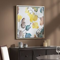 Madison Park Signature Autumn Watercolor Leaves Framed Wall Art, Yellow