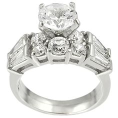 Journee Collection Sterling Silver Round-cut CZ with Bexel-set Baguettes Bridal and Engagement Ring S (12), Women's