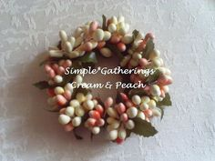 """One CREAM & PEACH 1.25"""" Inner Diameter Pip Berry Taper Candle Ring  #Unbranded #cottagecountryprimitivetraditional"""