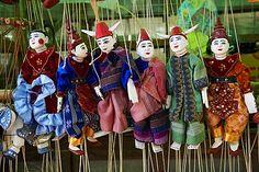 Traditional dolls for sale in the market, Bagan (Pagan), Myanmar (Burma)