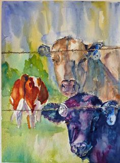Cow Bingo Watercolor Art Print by twopoots on Etsy