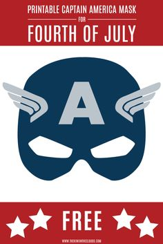This Printable Captain American Mask Will Delight Your Little Superhero Check out this awesome Captain America printable mask! This would be great for fourth of July or for an Avengers party! Captain America Maske, Captain America Party, Captain America Birthday, Captain America Costume, 6th Birthday Parties, Boy Birthday, Birthday Ideas, Anniversaire Captain America, Masks