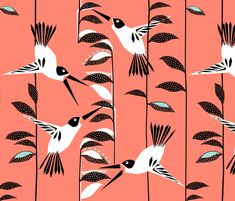 Humming birds fabric by mirjamauno on Spoonflower - custom fabric