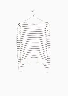 MANGO | Fine-knit striped sweater - Also available in black with white stripes