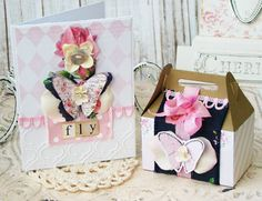 Fly Set of Card and Box  Shabby Chic Handmade Set Greeting