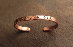 """Ladies, show your Montana pride or Gentlemen, the perfect gift for that """"Montana girl"""" in you life .....with this 12 gauge copper bracelet. Hand-made in Montana. Free Shipping. Free Returns."""