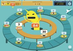 A playful adding and multiplication Apple device game where players must answer questions correctly while being distracted by sushi eating cartoon monsters. Players can earn badges for completely games well.