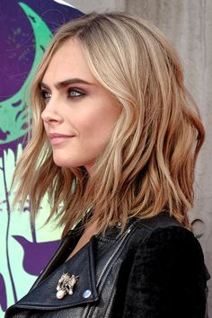 Cara Delevingne Wavy Light Brown Bob, Shaggy Bob Hairstyle | Steal Her Style