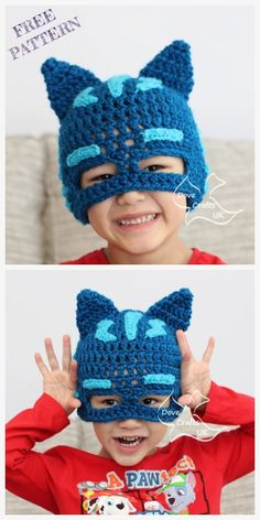 PJ Mask Hat Free Crochet Patterns – DIY Magazine Crochet Catboy PJ Mask Hat Free Crochet Patterns You are in the right place about Crochet. Slouch Hat Crochet Pattern, Bonnet Crochet, Crochet Mask, Crochet Beanie Hat, Knitted Hats, Crochet Kids Hats, Crochet For Boys, Crochet Clothes, Kids Crochet Hats Free Pattern
