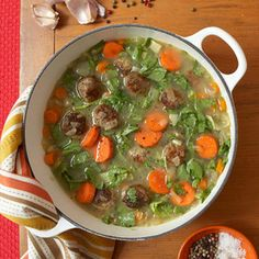 Souped Up: Healthy, Hearty Soup Recipes - Get ready to be bowled over. These seven filling and delicious soups and stews will satisfy your fall cravings -- without the fat and calories. Healthy Hearty Soup, Hearty Soup Recipes, Slow Cooker Recipes, Cooking Recipes, Healthy Recipes, Albondigas, Soup And Salad, Soups And Stews, Healthy Eating