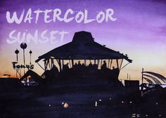 Watercolor 'Redondo Beach Sunset' Tutorial from oceanSpice