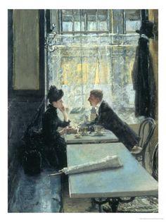 Lovers in a Cafe - Gotthardt Johann Kuehl