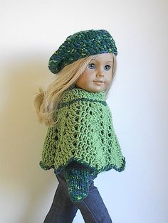 American Girl Doll Clothes Crocheted Poncho Beret by Lavenderlore