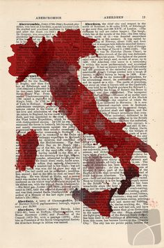 Art Print Italy Map on an upcycled vintage by CartabanCards