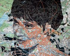 """Ed Fairburn map portraits. Reminds me of the concept for the cover of Ned Vizzini's """"It's Kind of a Funny Story."""""""