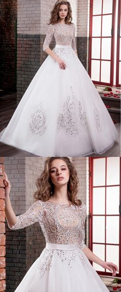 Best A-line Wedding Dresses : Amazing Tulle Bateau Neckline A-line Wedding Dresses With Lace Appliques Wedding Dresses Plus Size, Bridal Wedding Dresses, Dream Wedding Dresses, Prom Dresses, Cute Wedding Ideas, Wedding Trends, Wedding Styles, Gorgeous Wedding Dress, Beautiful Gowns