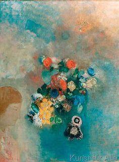 Odilon Redon - La Reve ou La Pensee (Fleurs et profil)