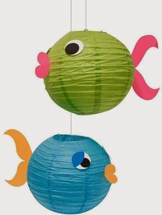 Make fish decorations out of paper lanterns for an under the sea theme party! Under The Sea Theme, Under The Sea Party, Little Mermaid Parties, Mermaid Birthday, Beach Themes, Ocean Themes, Party Themes, Party Ideas, Fish Party Decorations