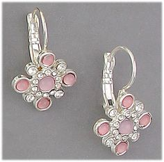 Simply Whispers hypoallergenic and nickel free Jewelry Pierced earrings silver euro clasp with pink and crystal stones in square shield