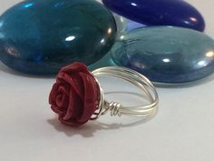 Wire wrapped handmade ring red rose bead non-tarnish silver wire #Handmade #Beaded