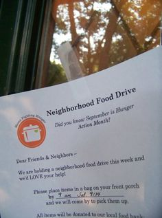 Free Printable Flyer for Neighborhood Food Drive