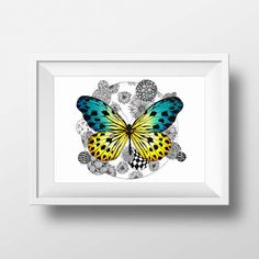 Butterfly Printable Yellow And Blue Colored Art by doneBYmargo Everyday Objects, Happy Girls, New Homes, My Arts, Butterfly, Printables, Blue, Yellow, Unique Jewelry
