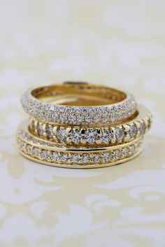 The perfect accessory to your engagement ring is stacked bands! One of the biggest jewelry trends and so simple to do!
