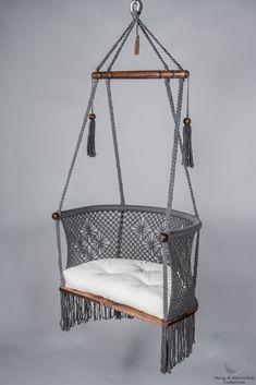 Macrame Hanging Chair in Grey. - Macrame Hanging Chair in Grey. - Leah Gessel Macrame Hanging Chair in Grey. Hanging Chair in Macrame in Grey - Macrame Hanging Chair, Macrame Chairs, Diy Hanging, Hanging Chairs, Hanging Beds, Hanging Decorations, Outdoor Hanging Chair, Decoration Bedroom, Diy Home Decor