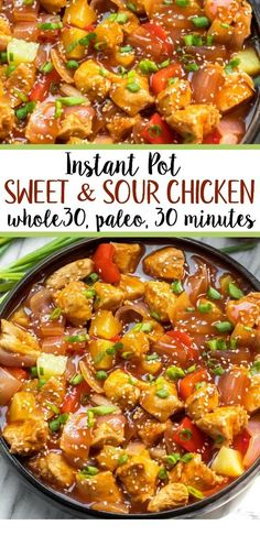 Whole30 instant pot sweet and sour chicken is so easy and so quick to make. It's completely Paleo, sugar free, gluten free, and made in less 30 minutes. The simplicity of this recipe makes it perfect for a weeknight meal that's family friendly, or for Whole30 meal prep.   #paleo #paleorecipes #paleobreakfast #paleodinner #paleosnacks #paleodiet #tululme