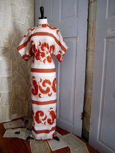 Feather Print 70s Dress