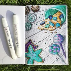 "272 Likes, 12 Comments - ART.IS.JOURNEY (@art.is.journey) on Instagram: ""Морские печеньки и конфетки для конкурса @hello_sweet_summer #МОРСКАЯ_HelloSummer_рисунок…"""