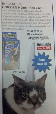 "Inflatable Unicorn horn for kitties: ""Cats love it"" Hahahah! This is awesome!"