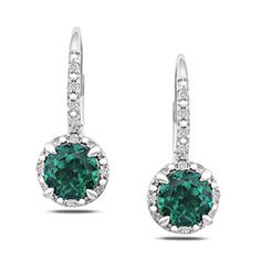 @Overstock - These leverback earrings features single round created emeralds and diamond accents set in polished sterling silver.http://www.overstock.com/Jewelry-Watches/Sterling-Silver-Created-Emerald-and-Diamond-Earrings/5607002/product.html?CID=214117 $81.99