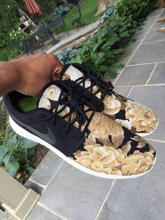 Custom Rose Gold Floral Nike Roshe Runs
