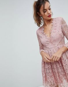ASOS | ASOS Long Sleeve Lace Mini Prom Dress