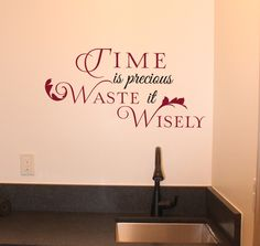 Waste It Wisely Wall Decal Tuscan Design, Tuscan Style, Marble Comforter, Inspirational Wall Quotes, Tuscan Furniture, Old World Kitchens, Tuscan House, Tuscan Decorating, Break Room