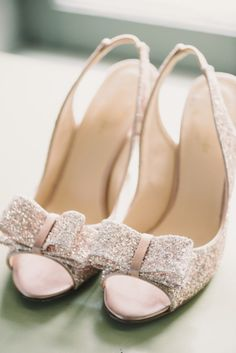 Pink sparkly bow shoes: http://www.stylemepretty.com/little-black-book-blog/2014/10/24/classic-old-hollywood-glamour-at-highlands-country-club/ | Photography: Michelle Lange - http://www.loveandbemarried.com/