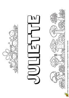 Le prénom Juliette en version petite colline, à colorier