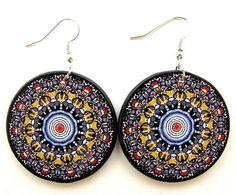 Boho chic earrings, mandala earrings, decoupage by JewelryByJolanta, $18.00