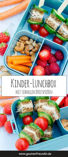 Healthy children's lunch box for breakfast in kindergarten - Advertising. Children's lunch box with healthy bread skewers, fruit, vegetables and nuts – a he - Healthy Packed Lunches, Healthy School Lunches, Nutritious Meals, Healthy Snacks, Healthy Fruits, Healthy Kids, Breakfast Drinks Healthy, Boite A Lunch, Lunch Box Recipes