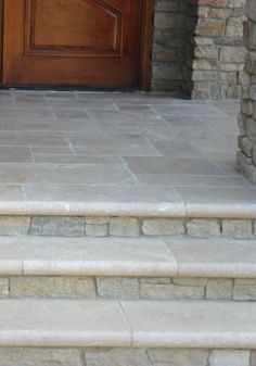 Front Steps Design, Pictures, Remodel, Decor and Ideas - page 2 Steps Design, Porch Steps, House With Porch, Stone Porches, Front Porch Steps, Porch Flooring, Front Porch Stone, Porch Tile, Front Porch Design