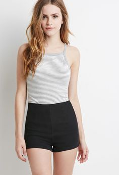 $12, Black Denim Shorts: Forever 21 High Waisted Denim Shorts. Sold by Forever 21. Click for more info: https://lookastic.com/women/shop_items/225994/redirect