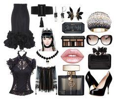 """Black Night Princess"" by obscura on Polyvore featuring Johanna Ortiz, Yves Saint Laurent, Vivienne Westwood, Nancy Gonzalez, Gucci, Swarovski, Lime Crime, Kat Von D, Chloé and REGALROSE"