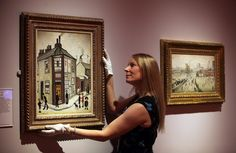 A curator at York Art Gallery hangs a painting by LS Lowry - photo by Kippa Matthews York Art Gallery, York Museum, News Media, North Yorkshire, Ceramic Art, Painting, Painting Art, Ceramics, Paintings