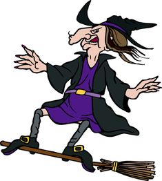 Great Witch Clip Art: Evil Witch Standing On A Broom